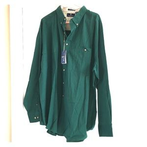 Green cotton Bill Blass long sleeve shirt, XXL